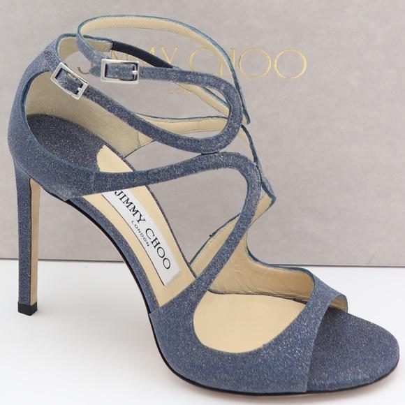 5814927a9ccc6 Jimmy Choo Shoes | Lang Blue Glitter Leather Sandals Heels | Poshmark